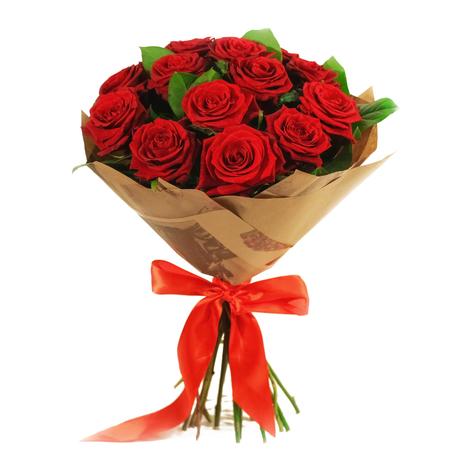 Букет из 15 красных роз в крафт-упаковке 52 BYN