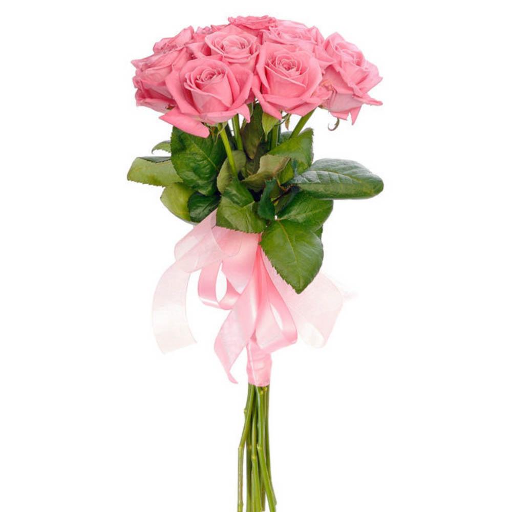Букет розовых роз 11 шт. с атласной лентой 40 BYN